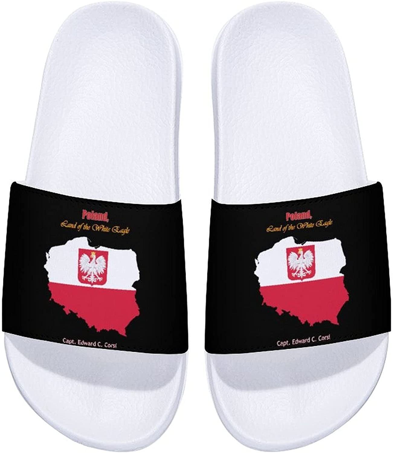 Poland-land-of-the-white-eagle Men's and Women's Comfort Slide Sandals Indoor Outdoor