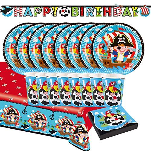 Krause & Sohn Party-Set Kindergeburtstag viele Teile Geschirr Geburtstag Dekoration Geburtstagstisch (Pirat)