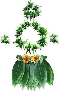BESTOYARD 5pcs Blatt Rock Kostüm Gras Rock Hawaiian Leis Set tropischer Erwachsene Kostüm für Strand Luau Hawaii Party Zubehör