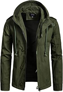 Zolulu Men's Hooded Military Jackets, Lightweight Cotton Casual Fashion Drawstring Full Zip up Sports Outdoors Spring Coat