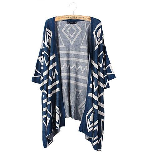 9516b5644f43 Bestmaple Women s Cotton Seal Plus Size Seed Stitch Aztec Cardigan Shawl  Sweater Blue