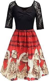 ワンピース BOBOGOJP レディース ドレス 音符 ピアノ 猫柄 Vネック Aラインワンピース 袖なし大きいサイズ 仮装ドレス 膝丈スカート 細身 女の子 女性用 スカート 衣装 クリスマス