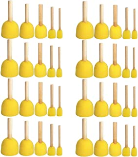Boloniprod 40 Pcs Round Stencil Sponge Wooden Handle Foam Brush Furniture Art Crafts Painting Tool Supplies Painting Stippler Set DIY Painting Tools in 5 Sizes for Kids (Style 2)