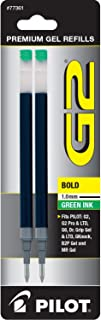 PILOT G2 Gel Ink Refills For Rolling Ball Pens, Bold Point, Green Ink, 2-Pack (77361)