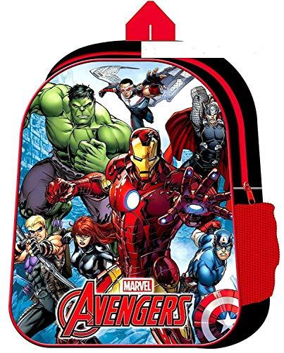 Mochila Escolar Infantil con Bolsillo Lateral de Malla Negro Avengers Medium