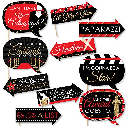 Big Dot of Happiness Funny Red Carpet Hollywood – Movie Night Party Photo Booth Props Kit – 10 Piece
