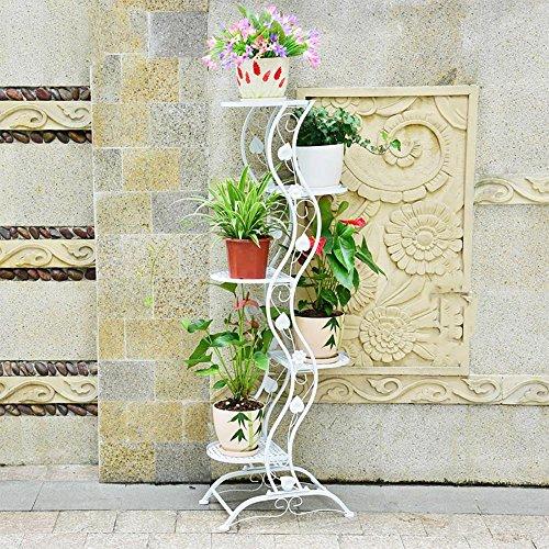 LLLXUHA Art de Fer métal Support de Fleurs, Plante Pot à Fleurs intérieur Type de Plancher Présentoir, Maisons Cadre décoratif, Blanc, 27 * 45 * 140cm