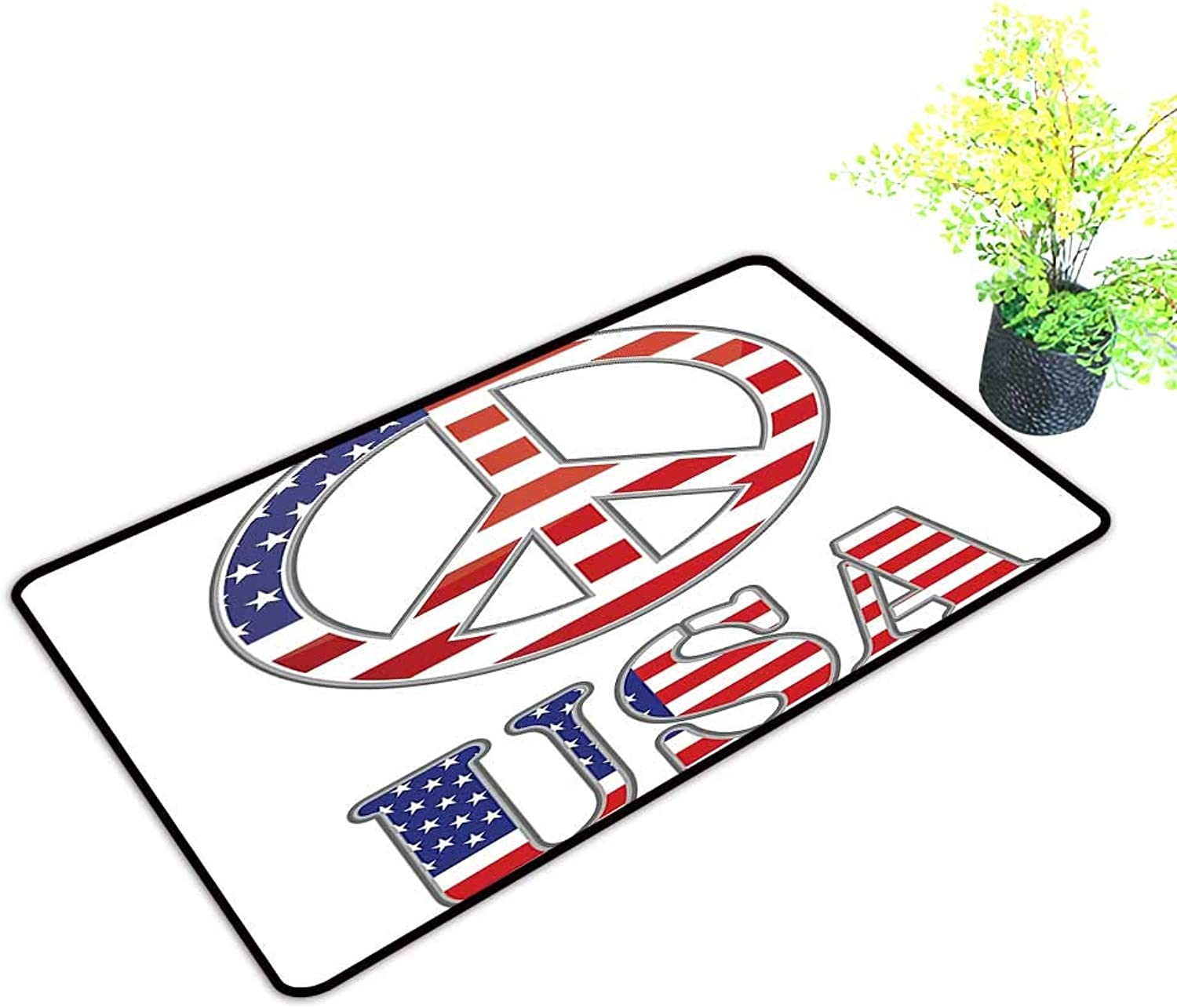 Gmnalahome Large Door Mats shoes Scraper Modern Peace Sign with USA Flag color Design Hippie Freedom No War Symbol Use for Front Door Entrance W39 x H19 INCH