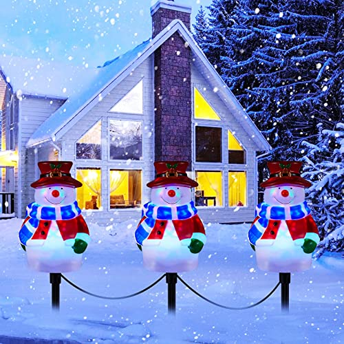 Christmas Snowman Pathway Lights Outdoor, 3-in-1 Landscape Path Lights for Holiday Decoration Waterproof LED Snowman Walkway Stake Lights for Decor Garden, Yard, Lawn, Park, Porch Plug in