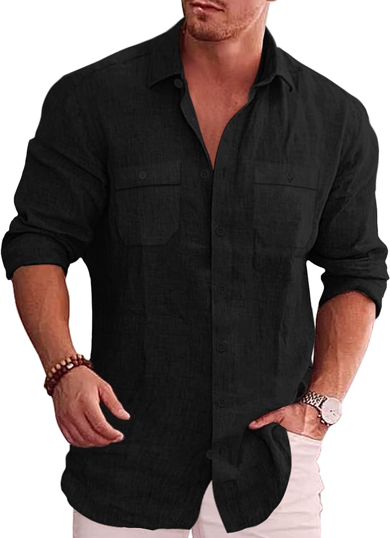 COOFANDY Men's Casual Button Down Shirt Long Sleeve Linen Chambray Shirt