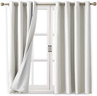 Deconovo Complete Blackout Curtain Panels Room Darkening Thermal Insulated Striped Textured Window Treatment Set for Living Room Silver Off White 52W x 63L Inch 2 Panels
