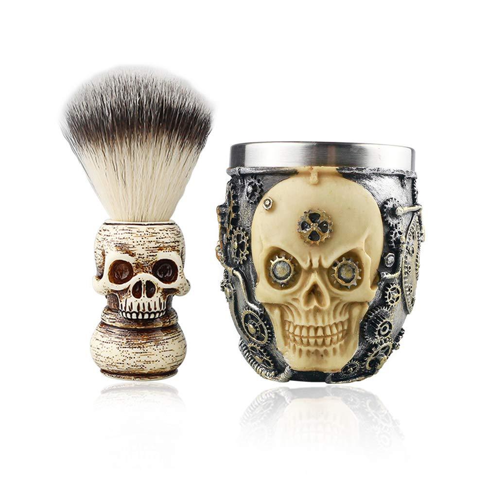 2 in1 Skull Head Max 53% OFF Max 67% OFF Barber Salon Shaving Men's Set Beard Facia Face