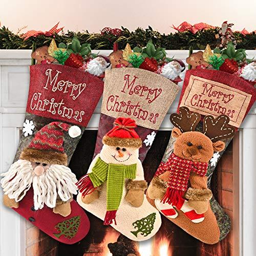 Telgoner Christmas Stocking Set of 3, Large Xmas...