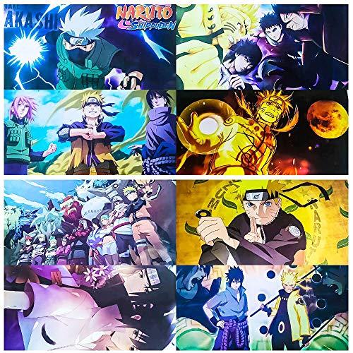 Anime Poster Fans 8pcs, Cool Manga Theme Japanese Posters, Teens Boy Room Wall Decor for Bedroom, Dorm, Daughters Birthday Gift 16x12inch Cartoon Art Prints Unframed (naruto-Sasuke&Sakura&Kakashi)