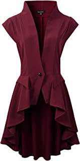 DarcChic Womens Gothic Steampunk Tail Vamp Long Victorian Waterfall Waistcoat Jacket Top