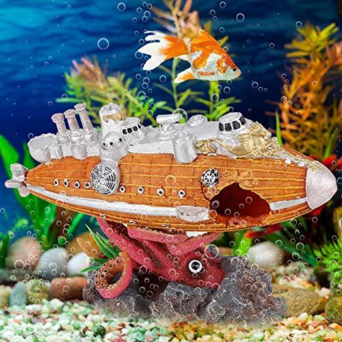 Changor Vivid Fish Tank Decoration, Fish Shuttle Octopus Stone Base 22.5x15x8cm Natural Aquarium Driftwood Resin