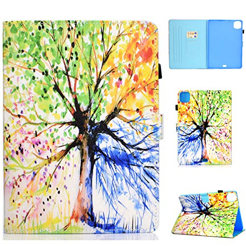 Bspring Case Compatible with iPad Air 4 / iPad Air 2020 Case, PU Leather Soft TPU Back Case Cover Fit for 10.9 Inch iPad Air 4th Generation with Pencil Holder, Auto Sleep/Wake,Colorful Tree