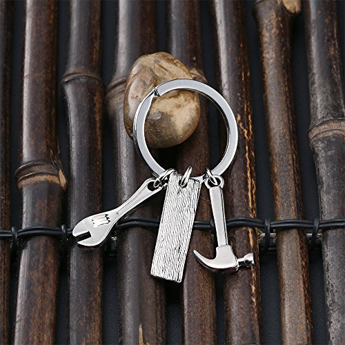 Men Gift Dad Ruler Wrench Hammer Key Chain Ring Tool Charms Pendant My Dad Can Fix Anything Father's Day Photo #6