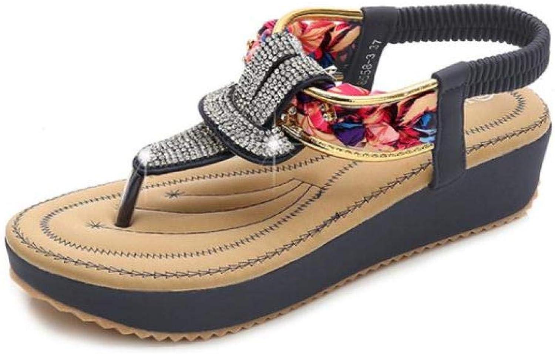 T-JULY Fashion Sandals Female Summer Flat Comfortable Women's shoes Round Head Rhinestone Women's Sandals
