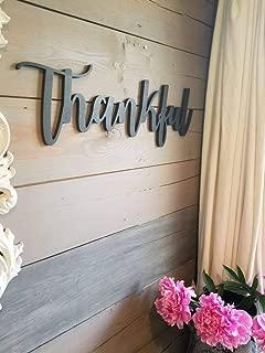 MarthaFox Thankful Sign Thankful Word Sign Thankful Cutout Thankful Decor Wood Word Signs Word Art Farmhouse Decor Wood Thankful Sign