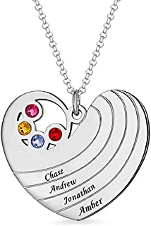 Personalised Heart Name Necklace Family Name Necklace Pendant with Birthstone& Name