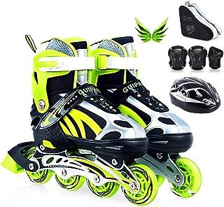 インラインスケート 子供のインラインスケート、成人男性と女性の初心者のためのフラッシュ調節可能なサイズプロフェッショナル単一行スケート、グリーンレッドブルー ローラースケート Inline skate (Color : B, Size : L(39-43))