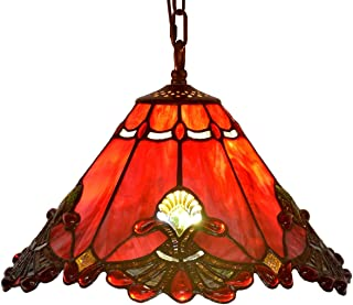 Bieye L10719 Baroque Tiffany Style Stained Glass Ceiling Pendant Fixture with 13 Inch Wide Handmade Shade (Red)