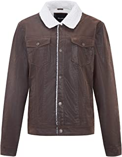 Bellivera Men's Faux Leather Jacket with Detachable Hood,Biker Jacket for Spring Autumn and Winter