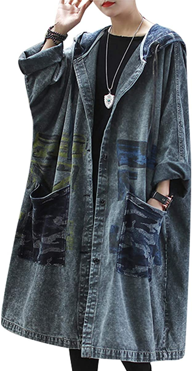 Women Fashion Loose Distressed Denim Trench Jacket Coat Casual Plus Size Jean Outwear