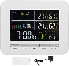 Duokon Termómetro Higrómetro, Reloj de pronóstico multifunción Termómetro para Interiores y Exteriores Higrómetro Pantalla LCD Calendario EU 220V