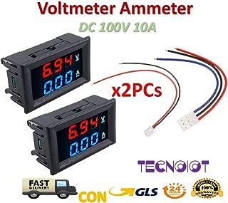 TECNOIOT 2pcs DC Voltmeter Ammeter Blue 100V 10A + LED Red Digital Voltmeter Double Amplifier Caliber