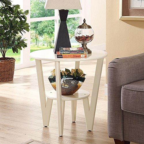 FEI Canapé Table d'Appoint Simple Table d'Angle Table Ronde Table Basse Table Basse Φ60 * H58cm (Couleur : Milky)