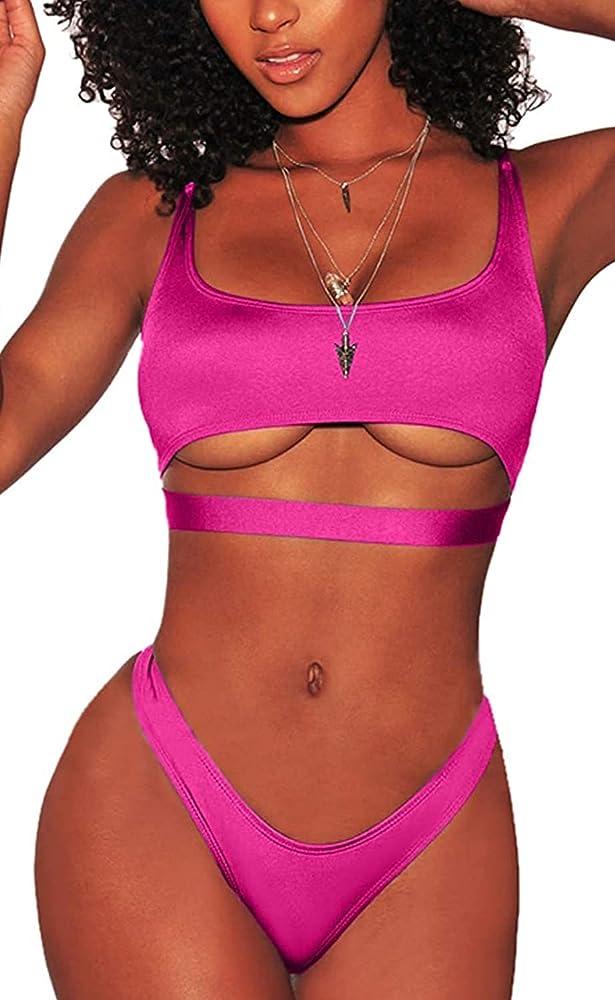 Jfan, costume da bagno da donna, due pezzi, in nylon elasticizzato, rosa rossa