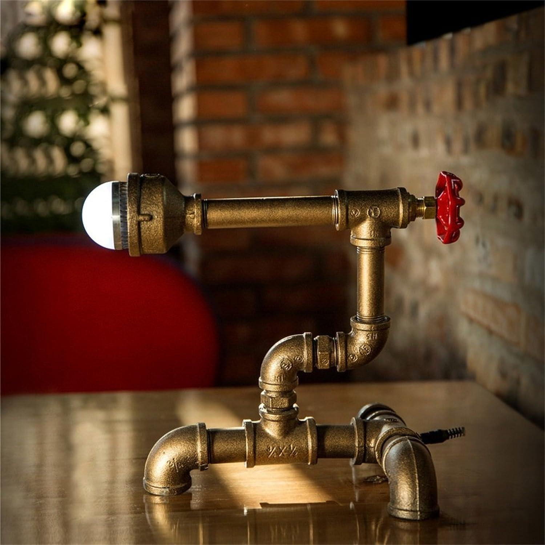 HOME UK-LED amerikanischen Retro Industrie Stil Wasserrohre Tischlampe Kreative Persönlichkeit Nachttischlampe B01N2GBB1G   | Verrückte Preis