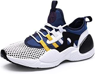 XinQuan Wang Fashion Sneakers for Men Low Top Walking Sport Shoes Elastic Casual Lace Up Mesh Round Toe Anti-Slip Breathable Lightweight (Color : Blue, Size : 7.5 UK)
