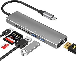 USB C ハブ ,zedela Type C ハブSDカードリーダー[4KHDMI出力ポート/2つのUSB3.0ポート/Power Delivery USB-Cポー/5Gbps SD&TF&MicroSDカードリーダー ],6-in-1 usb type c 変換アダプタ MacBook Pro 2017/2018、ChromeBook他対応