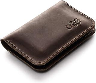 Leder Geldbörse und Kreditkartenfach | Wood Brown handgefertigter Vintage-Stil Kartenhalter minimalistisch schlank veggege...