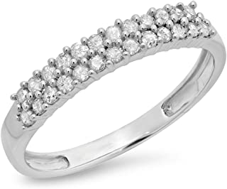 Dazzlingrock Collection 0.30 Carat (ctw) 10K White Gold Round White Diamond Ladies Wedding Stackable Band Chevron Ring
