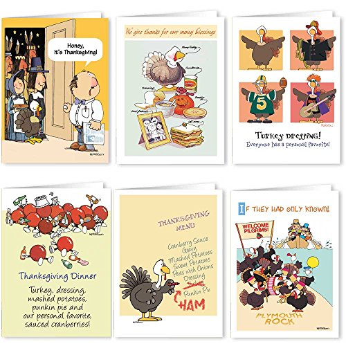 Thanksgiving Card Variety Pack - 18 Funny Boxed Thanksgiving Cards & Envelopes - 6 Designs