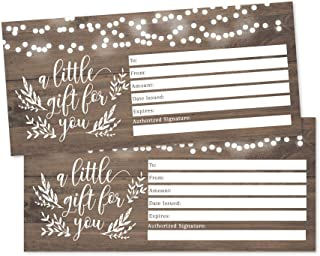 25 4x9 Rustic Blank Gift Certificate Cards Vouchers for Holiday, Christmas, Birthday, Small Business, Restaurant, Spa Beauty Makeup Hair Salon, Wedding Bridal, Baby Shower Cash Money Holder Printable