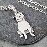 Sterling Silver Pit Bull Silhouette Flat Charm Necklace, 18'