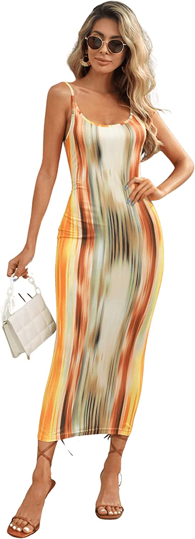 MakeMeChic Women's Casual Sleeveless Tie Dye Bodycon Pencil Cami Dress