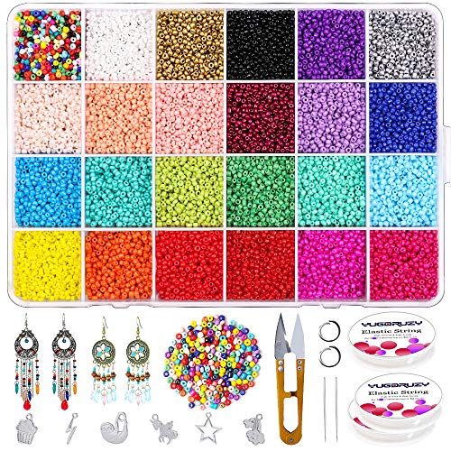 YUGDRUZY 14400pcs 2mm Glass Seed Beads Kit, 24 Multicolor Assortment 12/0 Pony Seed Beads with Open Jump Rings,Jewelry Pendant,Scissors and Elastic String for DIY Bracelet Earring Making