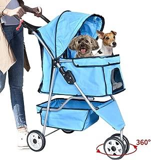 Bigacc 3 Wheels Pet Stroller Dog Stroller for Dog Cat Stroller Pet Jogging Stroller Pet Jogger Stroller Dog/Cat Cage Travel Lite Foldable Carrier Strolling Cart