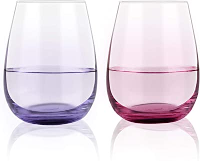 Colorful Stemless Wine Glass Set of 2, 15 Oz Vibrant Splash Wine Glasses for Men Women Friend Coworker Sister Lover, Beautiful Wine Glasses Gift Set with Colored Bottom (Purple & Red)