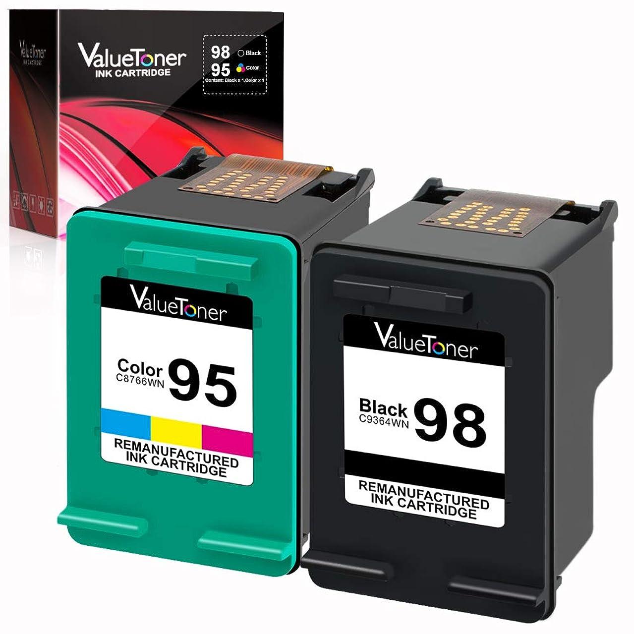 Valuetoner Remanufactured Ink Cartridge Replacement for HP 98 C9364WN & 95 C8766WN for Officejet 150 100 6310, PhotoSmart 8050 C4180 C4150, Deskjet 460 5940 Printer (1 Black, 1 Tri-Color, 2 Pack)