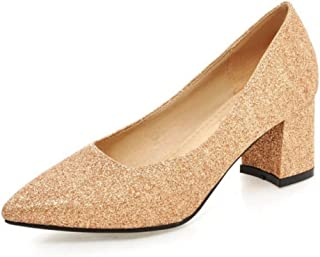 Smilice Court Shoes with Pointed Toe and Low Chunky Heel Formal Shoes