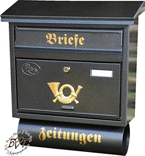 Stabiler NEU Briefkasten, Premium-Qualität, mit Schutzlackierung FG/a XXL anthrazit schwarz Farbe gold mit Zeitungsrolle fertig montiert Postkasten Post