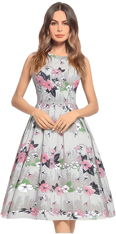 FXFAN Women Dress 2018 New Women Short Sleeve Dress Printed Dress