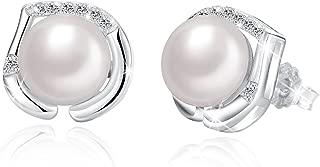 Earrings, Simulated Pearl Stud Earrings 925 Sterling Silver, Jewelry Gifts for Women Girls